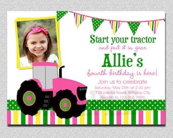 Pink Tractor Birthday Invitation, Girls Farm 1st Birthday,  Pink Tractor Birthday Party Invitation, Girls Petting Zoo Birthday, Farm Tractor