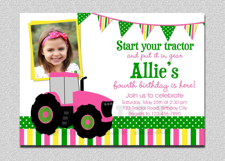 Pink Tractor Birthday Invitation Girls Farm 1st Birthday | Etsy