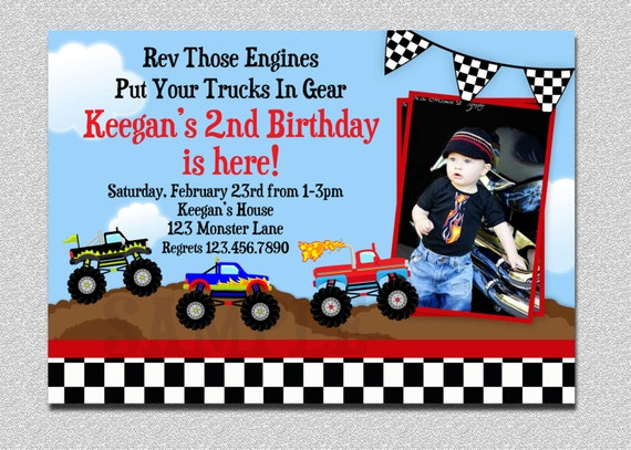 monster truck birthday invitation truck birthday party invitation