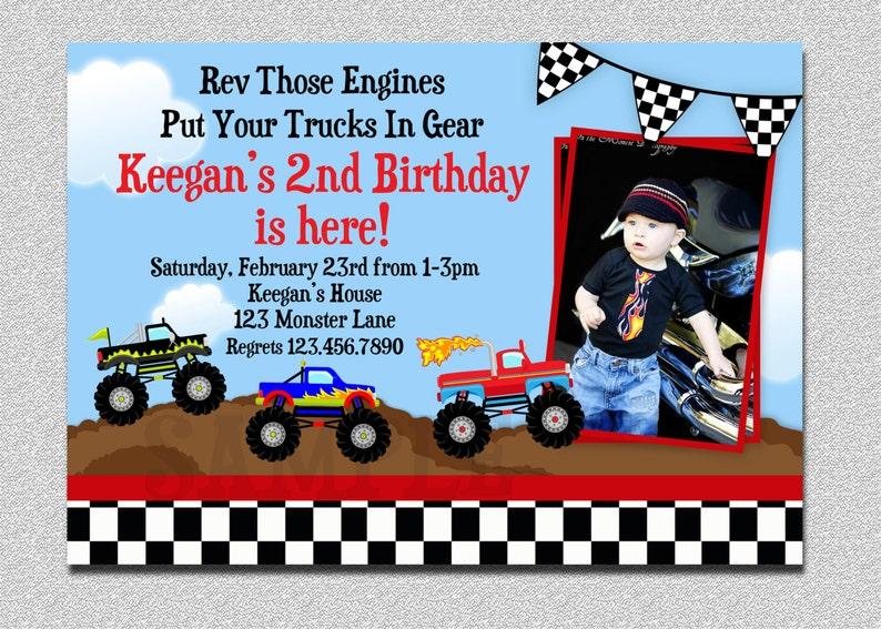 Monster Truck Birthday Invitation Truck Birthday Party Etsy