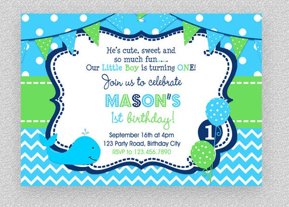Whale Birthday Invitation Party Boys 1st 2nd