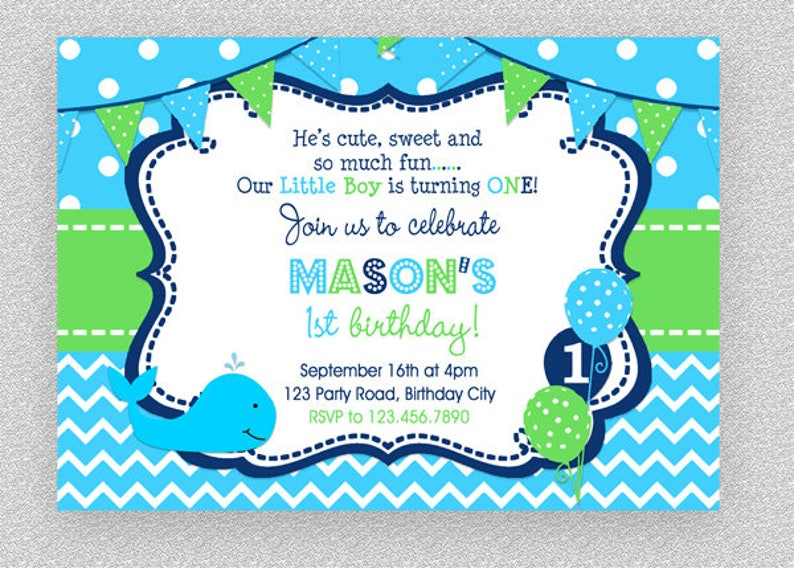 Whale Birthday Invitation Party