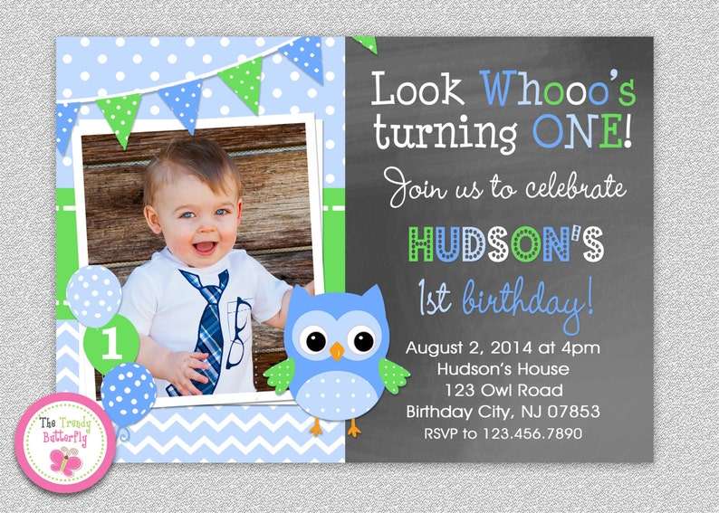 Owl 1st Birthday Invitation Boys Or