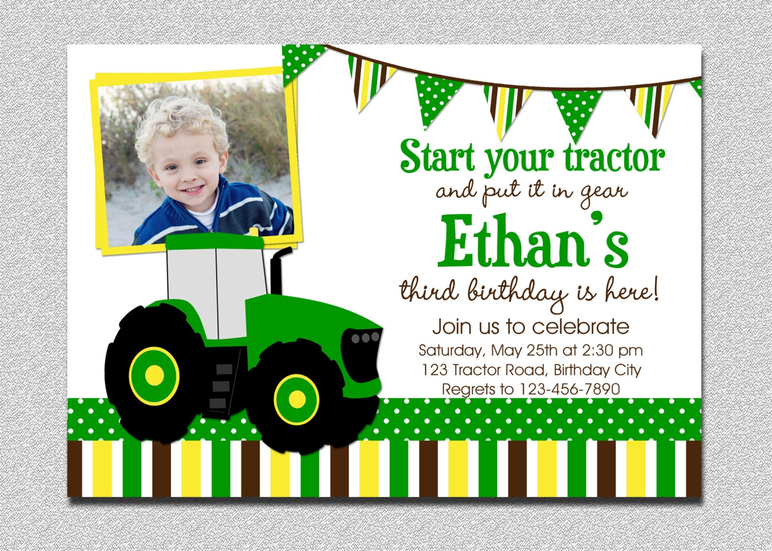 Tractor Birthday Invitation Party