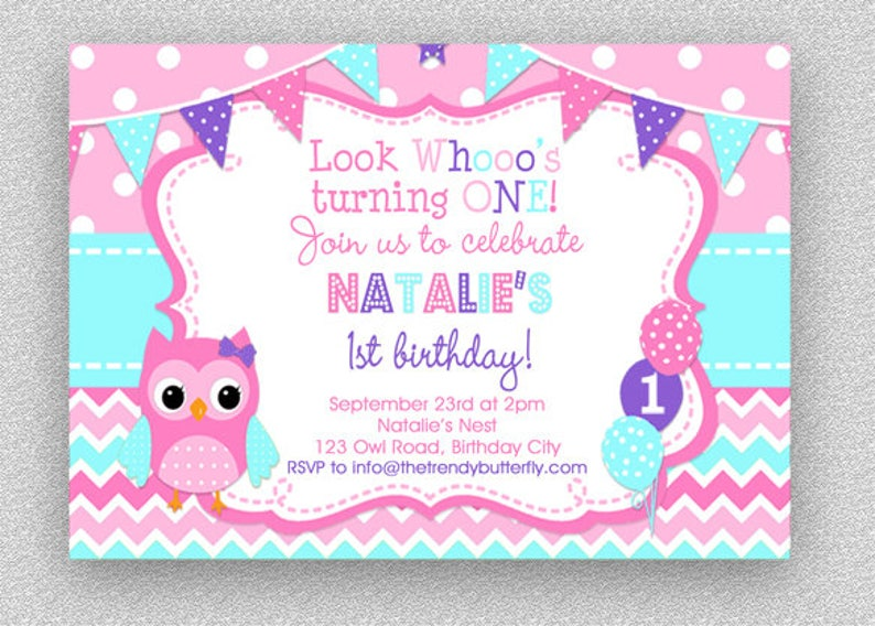 Pink Purple Turquoise Owl Invitation Girls Birthday Image 0