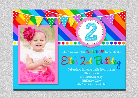 Rainbow Birthday Invitation Kids Invite 1st Party