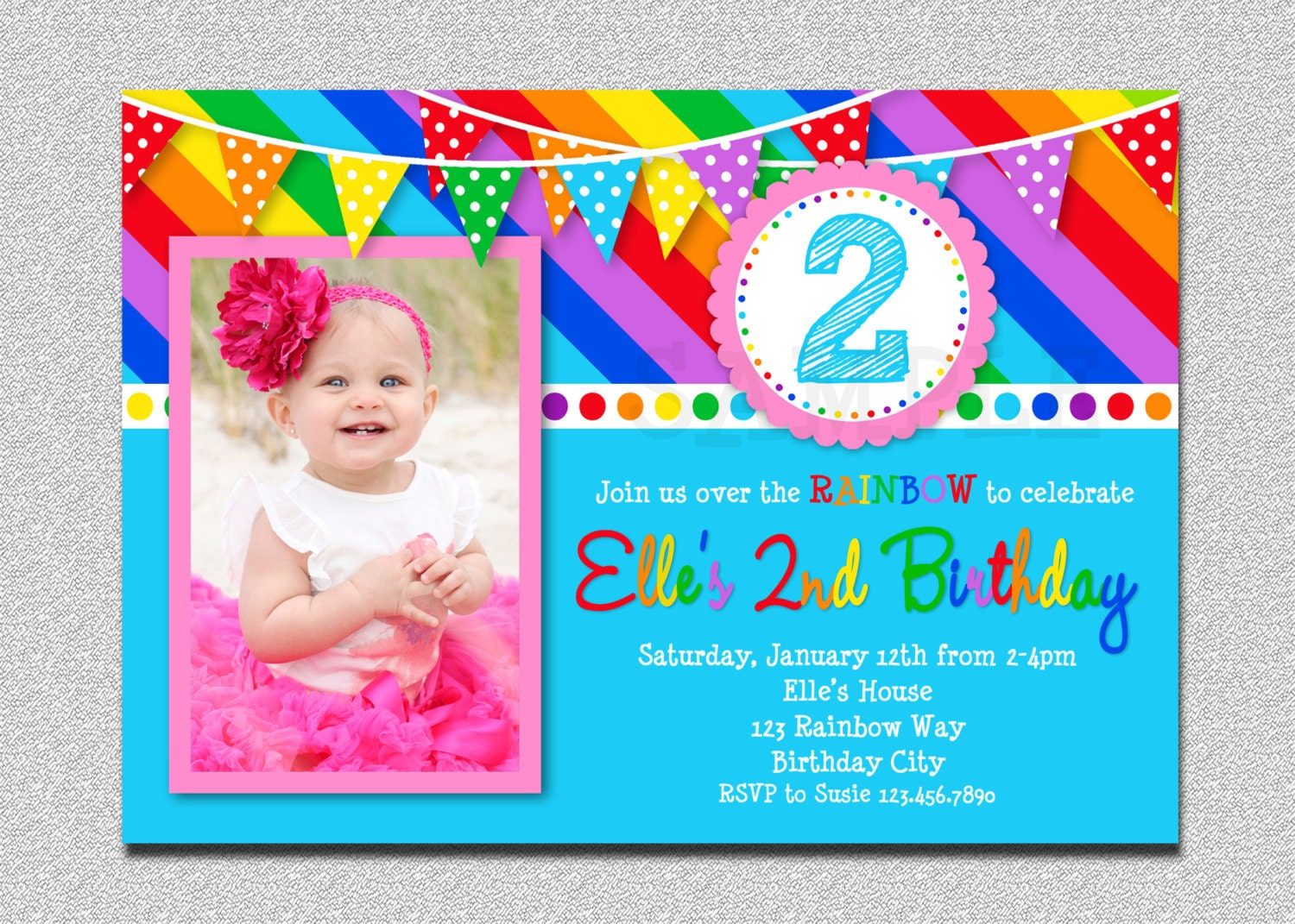 Fantastic Rainbow Party Invites Ensign - Invitations Example ...
