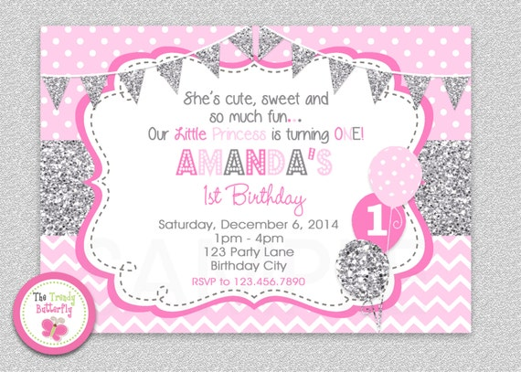 girls 1st birthday invitation silver pink girls 1st birthday