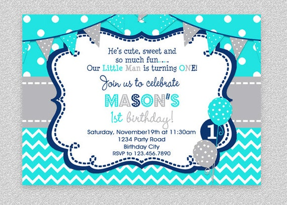 boys birthday invitation boys party invitation turquoise etsy