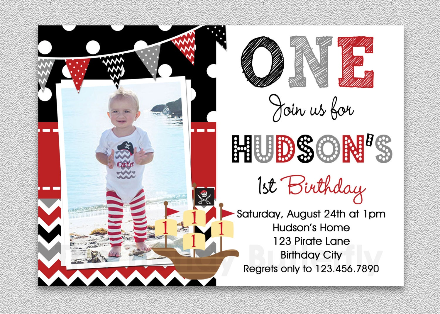 Pirate Birthday Invitation Boys Pirate Birthday Invitation | Etsy