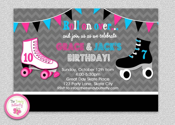Siblings roller skating birthday invitation boys girls roller il570xn filmwisefo