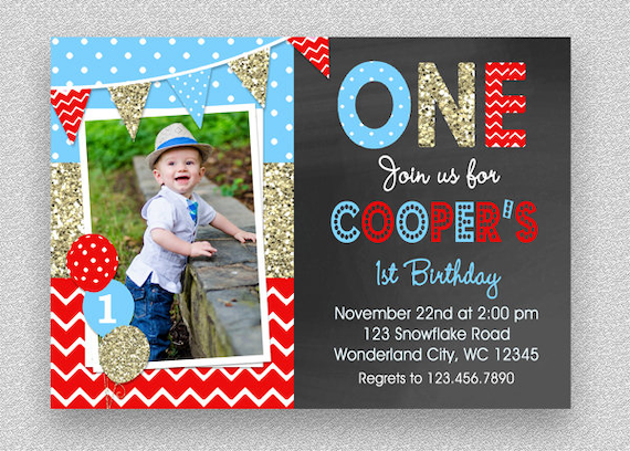 Boys Birthday Invitation Party Chalkboard 1st 2nd