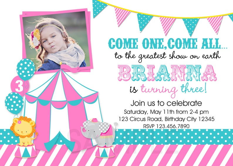 Carnival Birthday Invitation 1st