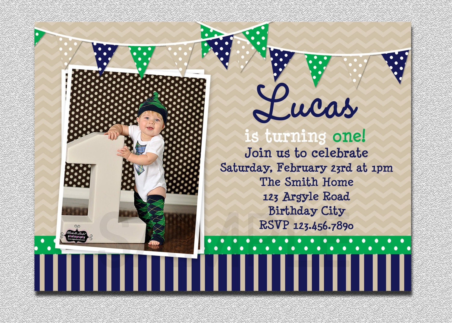 Preppy Bunting Boys Birthday Invitation Navy Green