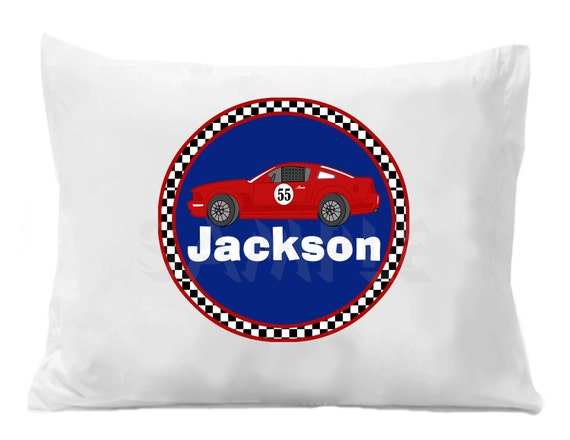 Handmade Pillow Case Race Cars Theme