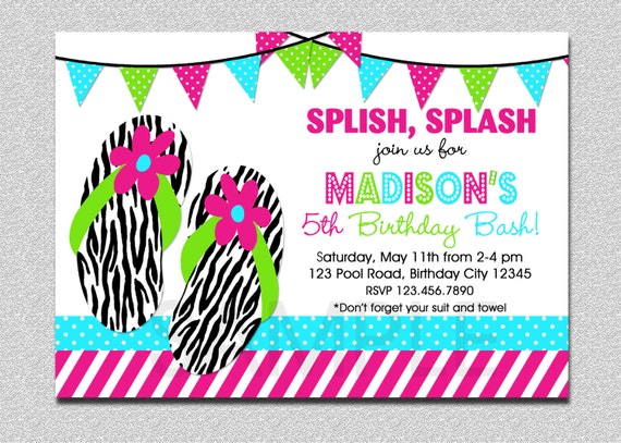 Flip Flop Birthday Invitation Splish Splash Pool Party 1st Boys Or Girls