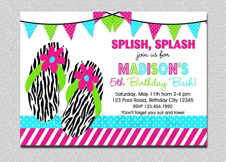 Flip Flop Birthday Invitation Splish Splash Pool Party