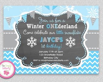 Boys Winter ONEDERLAND  1st Birthday Invitation,  Winter Birthday Invitation, Grey and Blue Birthday Invitation,  Boys or Girls Printable