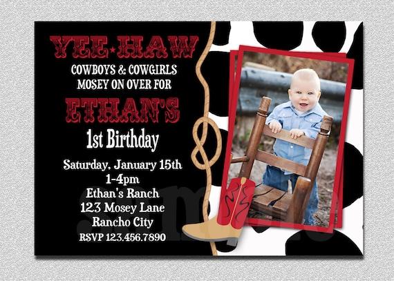Cowboy Birthday Invitation Cowboy 1st Birthday Party