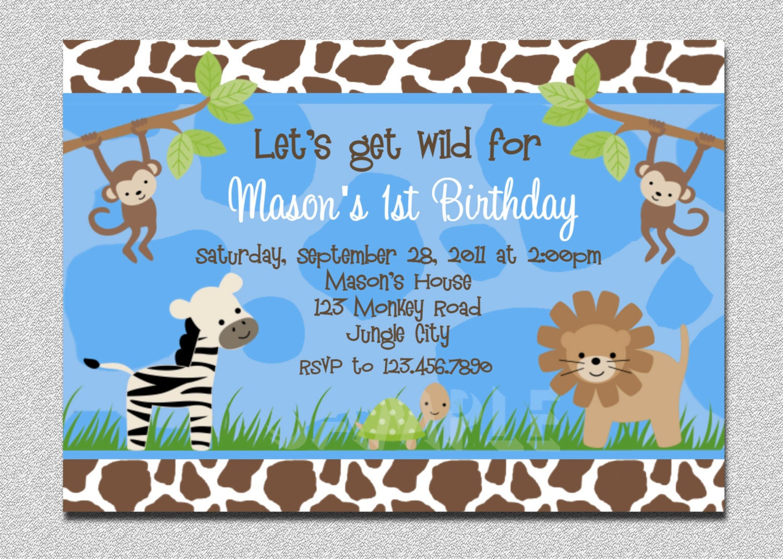 Jungle Birthday Invitation Boys Safari
