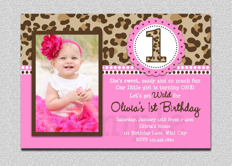 Leopard Birthday Invitation 1st Party