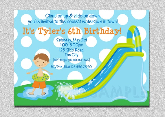 Waterslide Birthday Invitations Water Slide Birthday Party