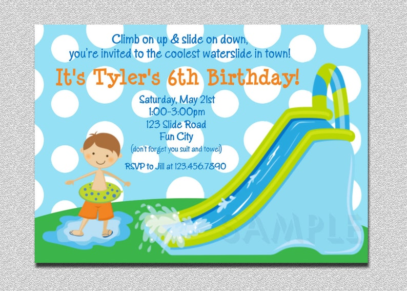 Waterslide Birthday Invitations Water Slide Party