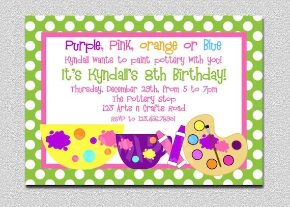 Arts And Crafts Birthday Party Invitation Art Birthday Invitation