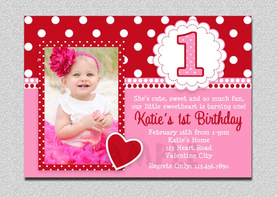 valentines birthday invitation 1st birthday valentines etsy