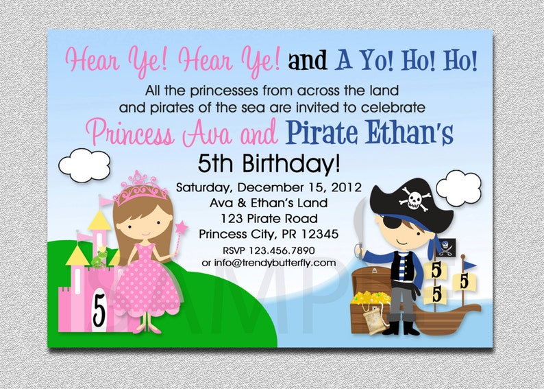 Princess Pirate Birthday Invitation And Party Twins Siblings Printable