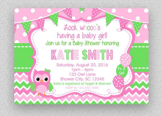 Owl Baby Shower Invitation Girl Baby Shower Invitation Etsy
