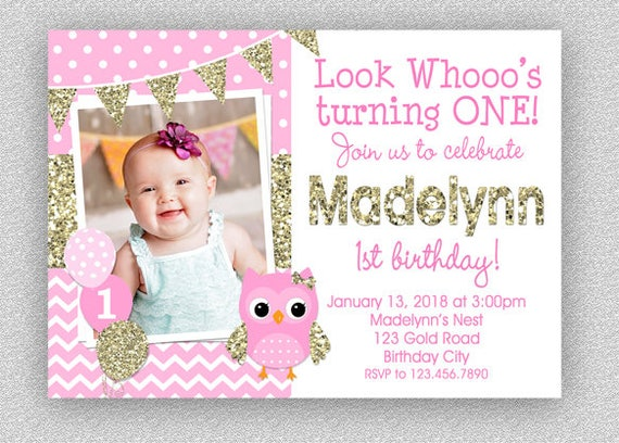 Owl Birthday Invitation 1st Pink And Gold