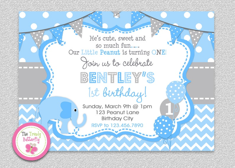 1st Birthday Elephant Invitation Party Blue Childrens Invitations