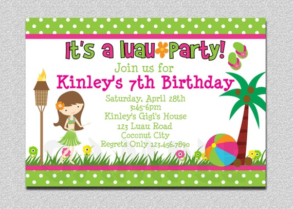 Luau Birthday Invitation Party Printable By