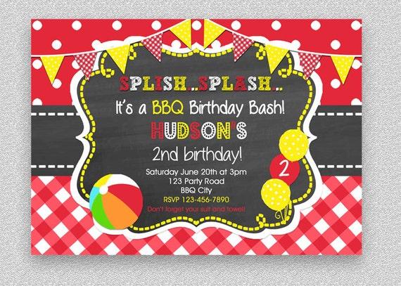 BBQ Birthday Invitation Pool Party