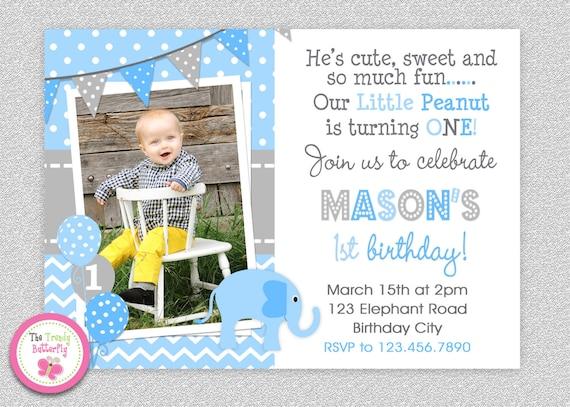 Boys Elephant Birthday Invitation 1st