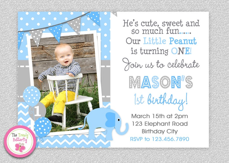Boys Elephant Birthday Invitation 1st