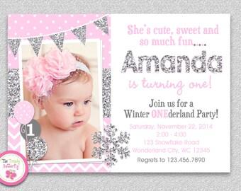 Winter Wonderland Birthday Invitation ,Winter Wonderland Invitation, Snowflake Birthday Invitation,Winter Wonderland 1st Birthday Invitation