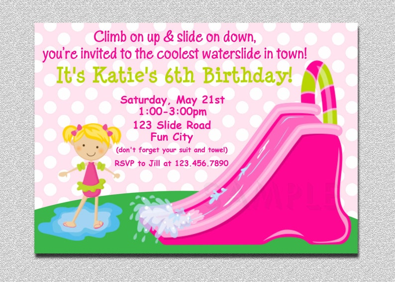 Waterslide Birthday Party Invitation Inflatable Water Slide