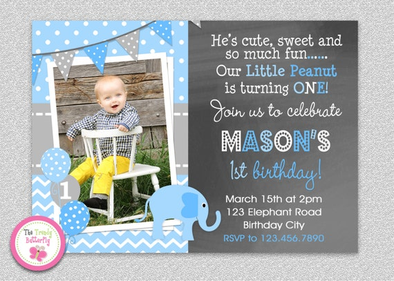 Boys Elephant Birthday Invitation Party Printable Or Girls