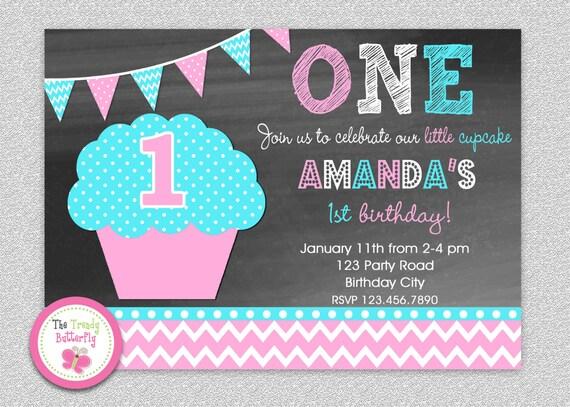 chalkboard cupcake invitation cupcake birthday cupcake party