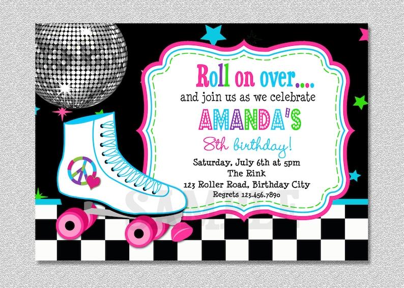 Roller Skating Birthday Invitation Rollerskating Birthday Party Invitation Skating Party Printable Invitation Printed Invitation