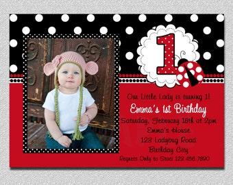 Ladybug Birthday Invitation,  Ladybug 1st Birthday Party, Red Ladybug Birthday Party Invitation, Ladybug Party,  Invitations Printable