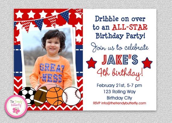 Sports Birthday Party Basketball Invitation Football Baseball Boys Sport All Star Boy