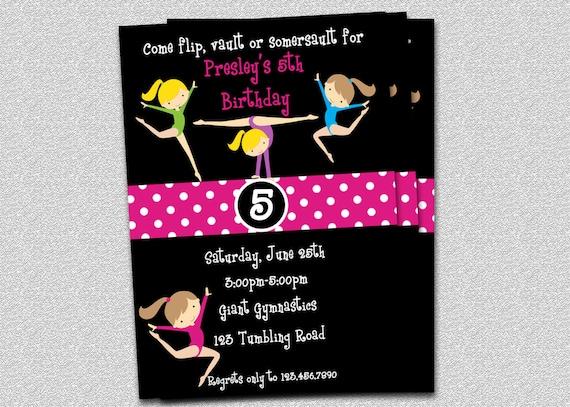 Gymnastics Birthday Invitation Party Invitations Printable Original Design