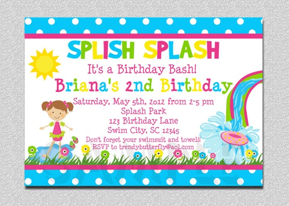 Pool Party Birthday Invitation Water Slide