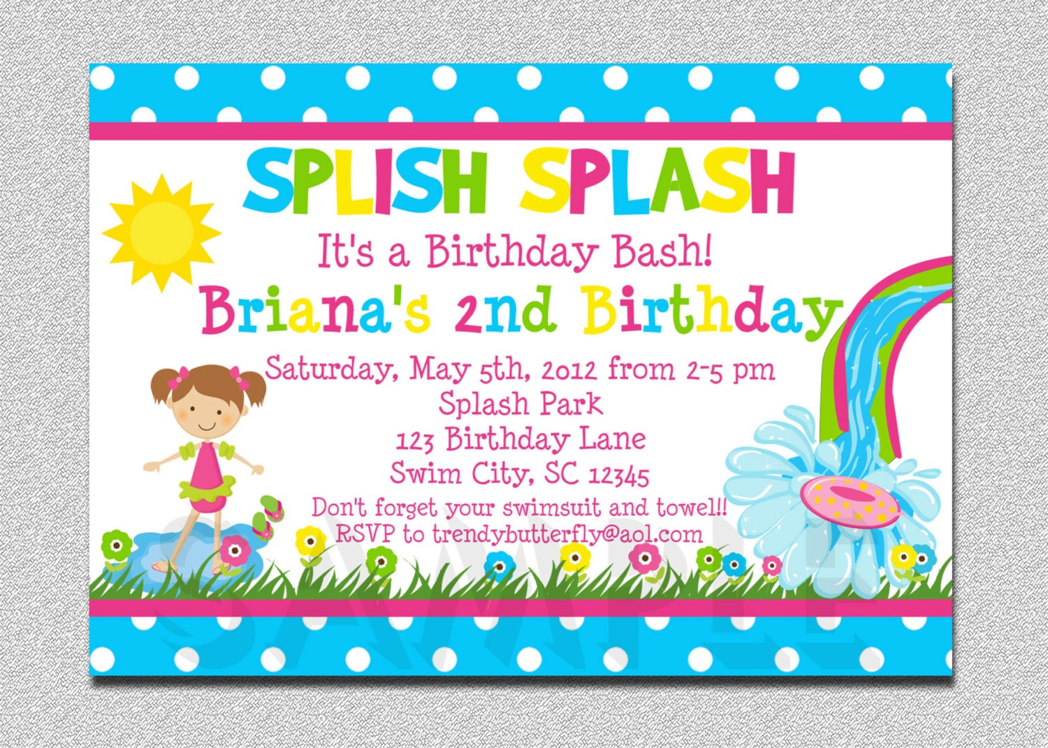 Pool Party Birthday Invitation Water Slide Splish Splash Girls I