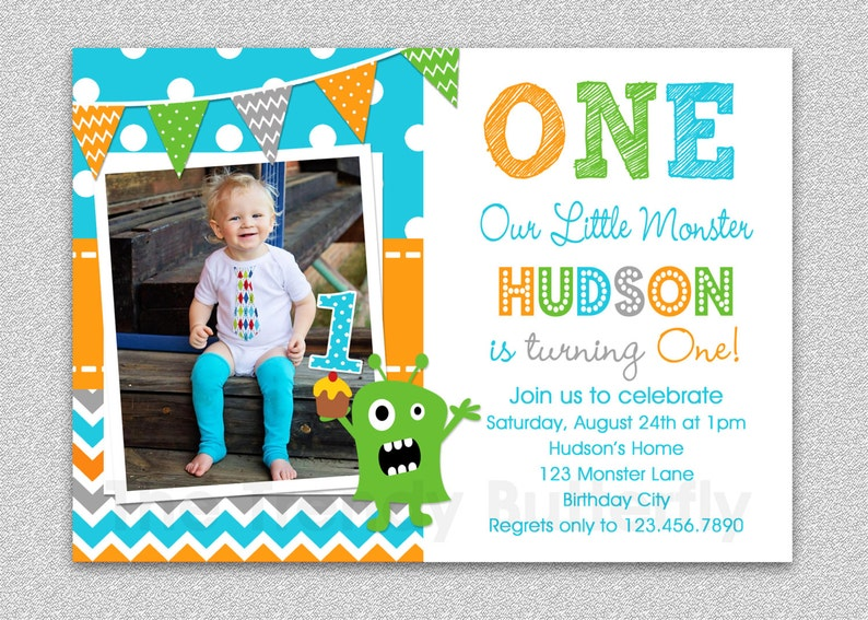 Boys 1st Birthday Invitation Monster 1st Birthday Invitation Etsy