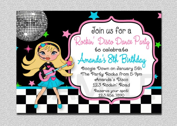 Rock Star Birthday Invitation Disco Party