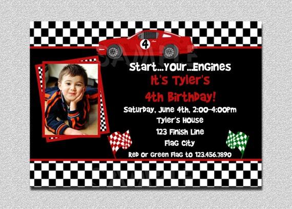 Race Car Birthday Invitation Party